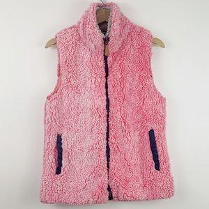 Simply Southern Pink Sherpa Vest S Mock Neck Zip